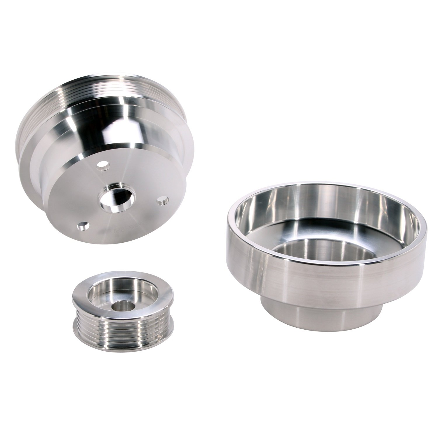 BBK 1603 Underdrive Pulley Kit for GM Truck 4.3/5.0/5.7L - 3 Piece CNC Machined Aluminum by BBK Performance (Image #1)