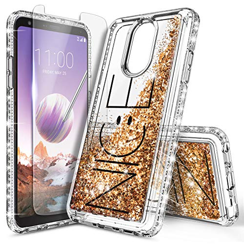 LG Stylo 4 Case, LG Stylo 4 Plus Case, LG Q Stylus w/[Screen Protector Premium Clear], NageBee Glitter Liquid Quicksand Waterfall Floating Flowing Sparkle Shiny Bling Diamond Girls Cute Case -Nice