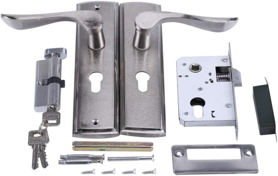 Broco Cerradura de Puerta de aleación de Aluminio con Llaves y Accesorios, Elegante Juego de manijas para Puertas de Madera Cilindro de Cerradura de manija de Puerta Duradera Cilindro de la Palanca