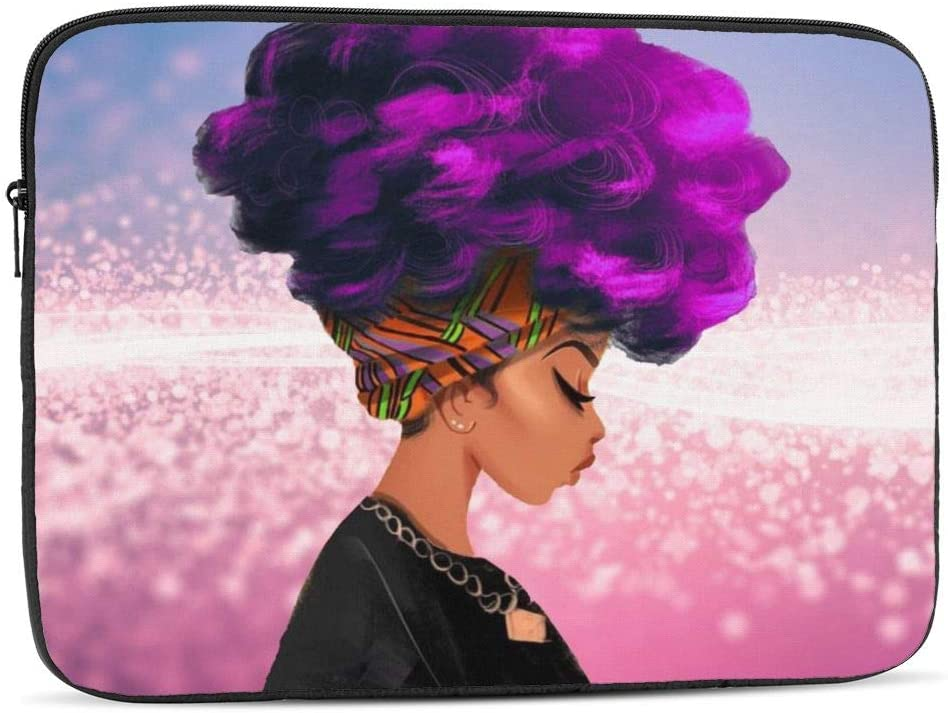 NFDF Purple Hair Color African Woman 17 Inch Zipper Laptop Sleeve Bag - Purple Hair Color African Woman Carring Case Cover Protector Handbag for MacBook/Notebook/Ultrabook