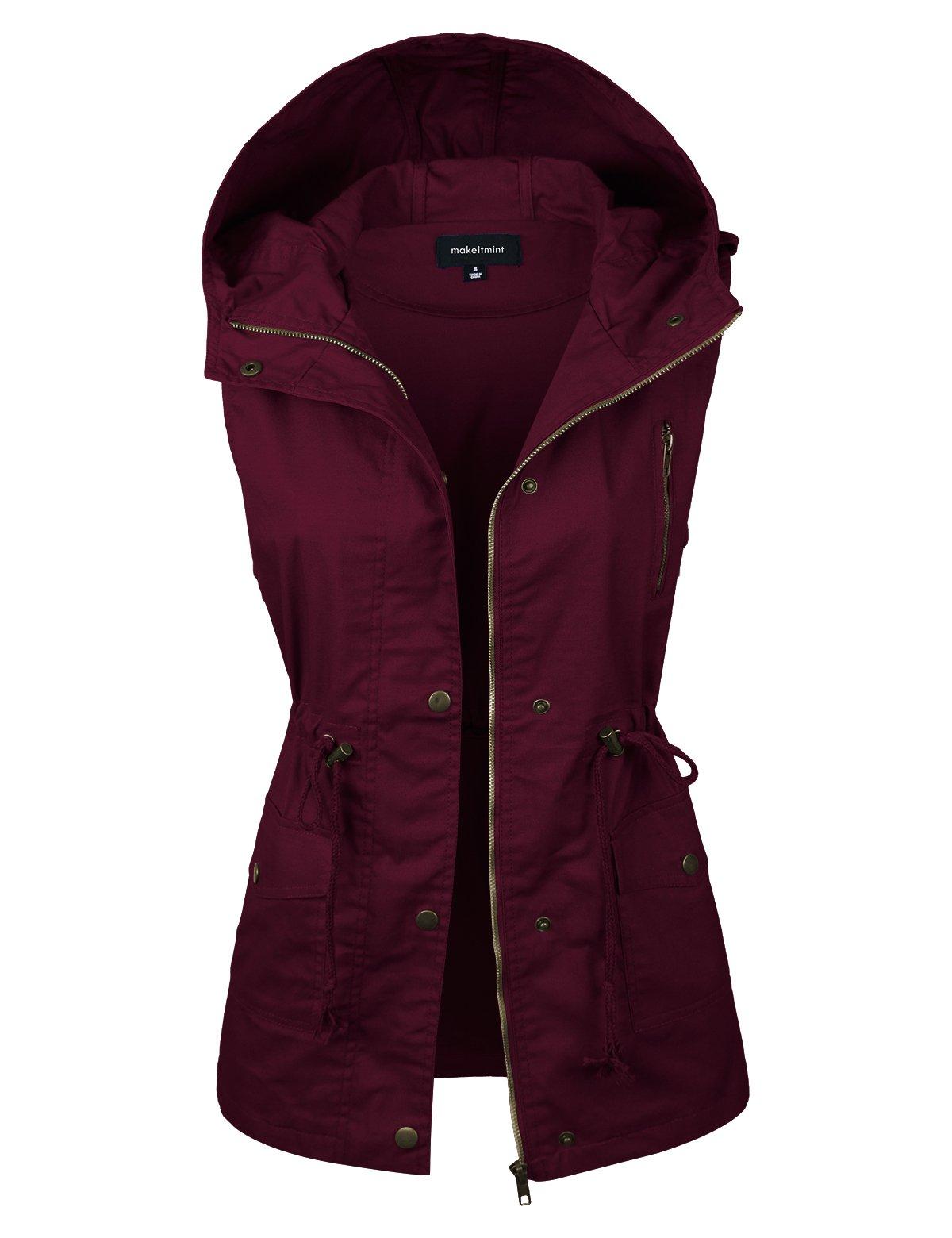 makeitmint Women's Hooded Utility Pocket Anorak Jacket Vest [S-3XL/9 Colors] YJV0043-BURGUNDY-1XL