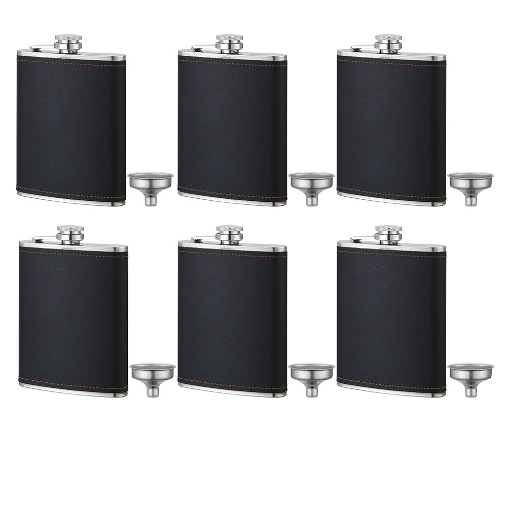 6Pcs Groomsmen Gift 8 oz Hip Stainless Flask,Groomsman Gifts For Wedding