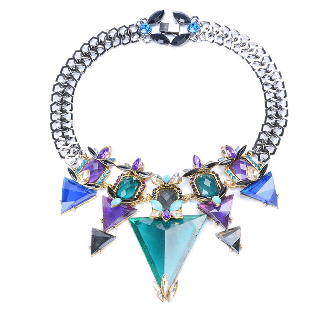 Olsen Twins Vintage Black Chain Crystal Glass Triangle Necklaces & Pendants Statement Jewelry (Colorful)