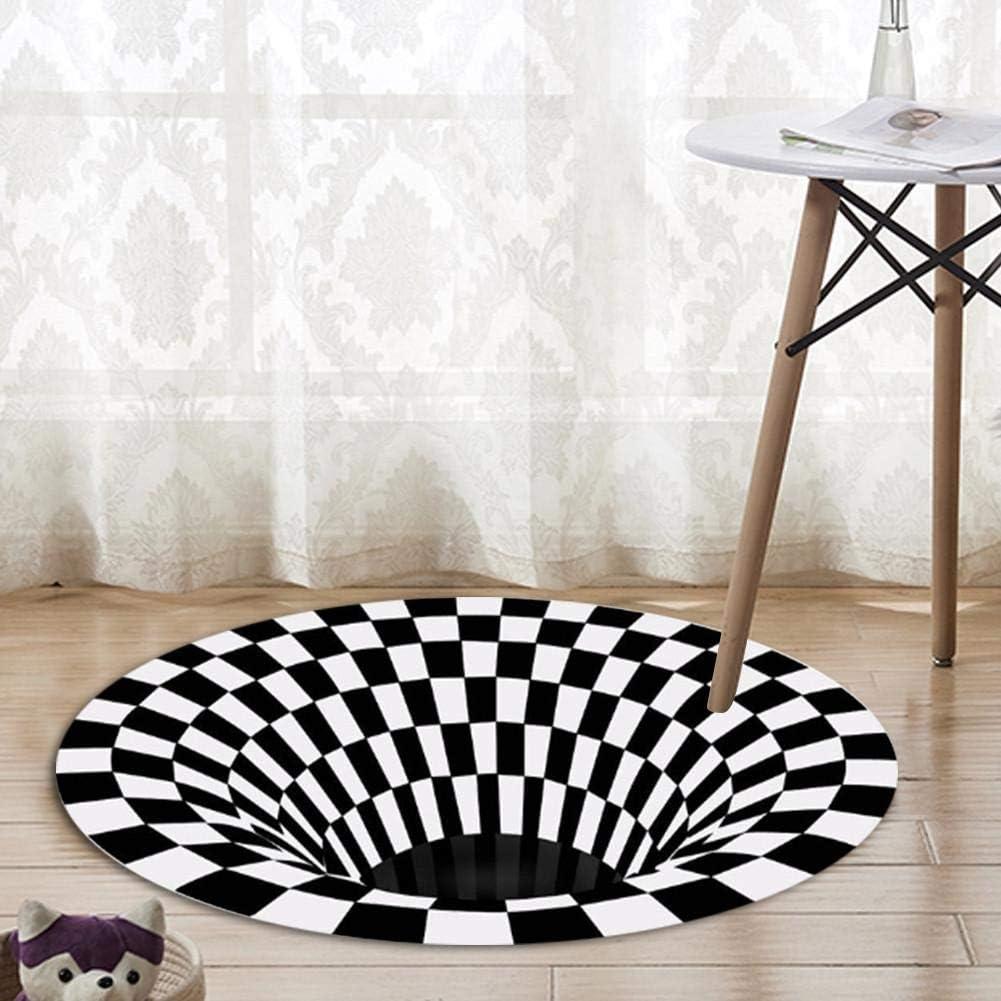 Coffee Table Sofa Blanket Freshdoll Round Carpet Visual Carpet Illusion Carpet Black /& White Checkered 3D Visual Effect Floor Rug Mat Anti-Slip Mat Used for Living Room Doormat