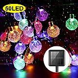 Solar Garden Lights, 50 LED 24Ft Outdoor String Lights Multi-Coloured Waterproof Crystal Ball Fairy Lights, Decorative Lighting for Home, Garden, Patio, Yard, Christma