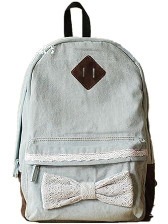 ca1b501f82 Lace Bow Denim Backpack Rucksack School bag College Shoulder Bag (One size