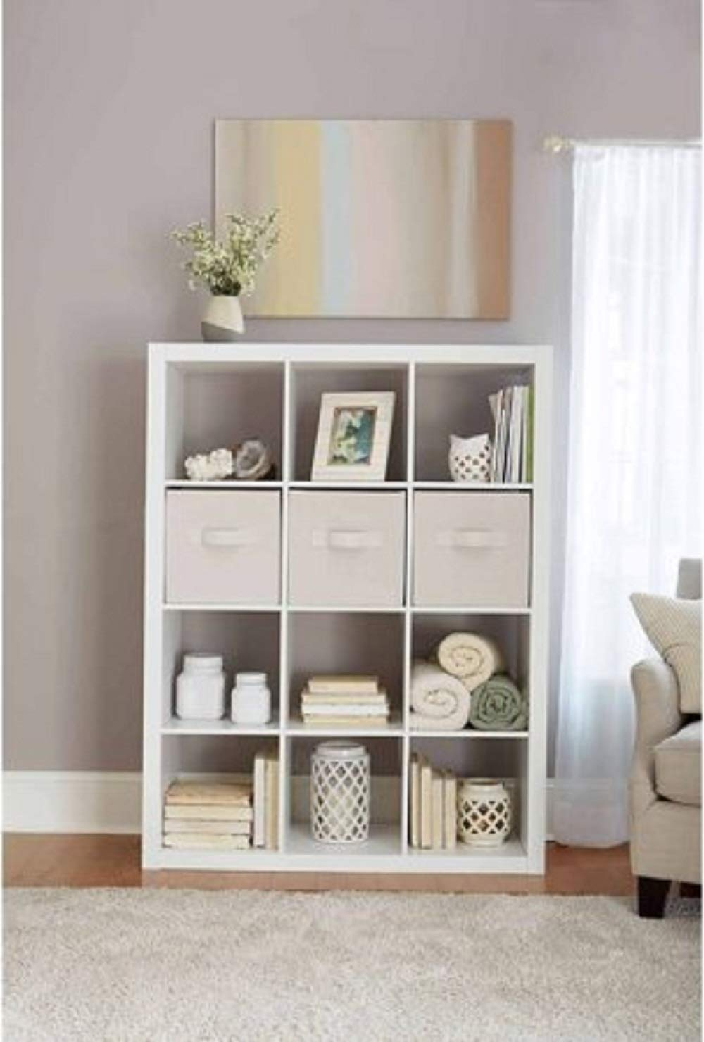 Better Homes and Gardens.. Bookshelf Square Storage Cabinet 4-Cube Organizer Weathered White, 4-Cube White, 12-Cube