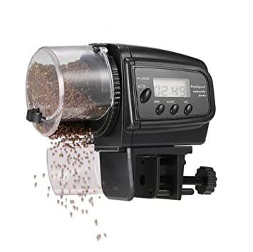 LVRXJP Alimentador de Peces automático del Acuario, Pantalla LCD automático Digital o Manual del Tanque del Acuario dispensador de Alimentos para el Tanque ...
