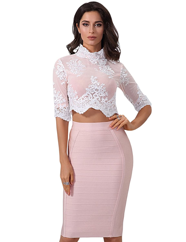 7df8a36c12 Maketina women piece lace top and skirt set bandage bodycon evening dress  jpg 1154x1500 Lace top
