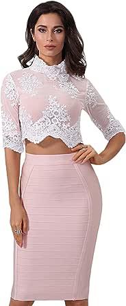 Maketina Women 2 Piece Lace Top and Skirt Set Bandage Bodycon Evening Dress