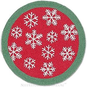 Amazon.com: Handmade Snowflake 100% Wool Winter Decorative Red ...