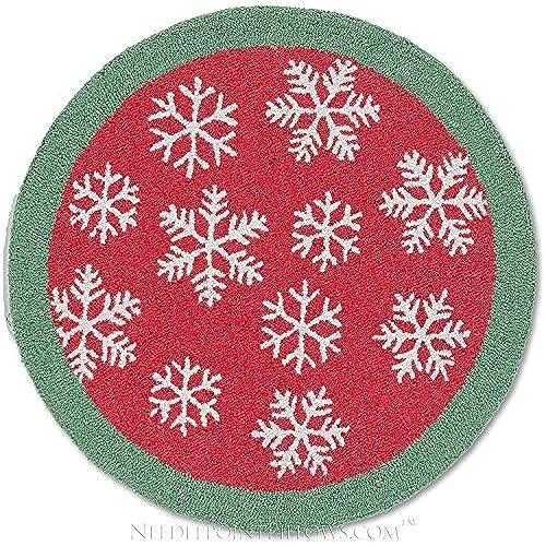 handmade snowflake 100 wool winter decorative red white ski skiing lodge hooked christmas rug 3 round