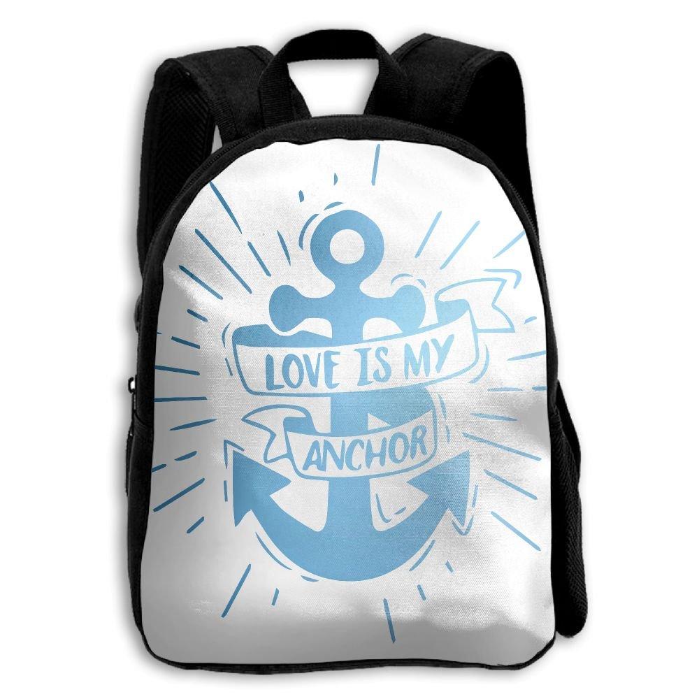 fidaljf愛は私のアンカー子供の3dプリントファスナー付き旅行バッグ学校バックパック   B07DN8PQDF