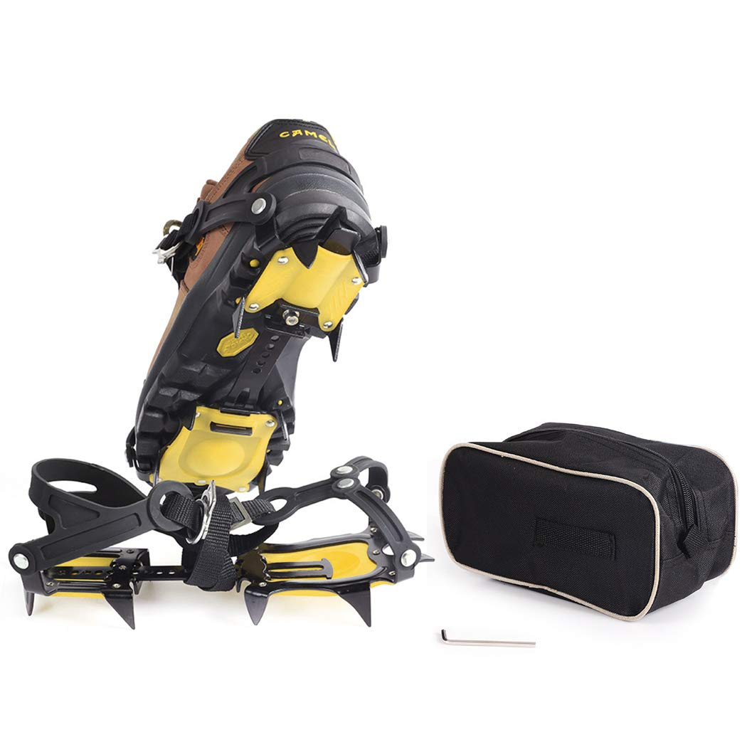 ARAER Crampons, 10 Feet Traction Cleats with Straps, Tolerant to -45℃, Universal: EU 37-45/US Men 6-11.5/US Women 5.5-12, Safe for Walking on Snow and Ice, Storage Bag Included