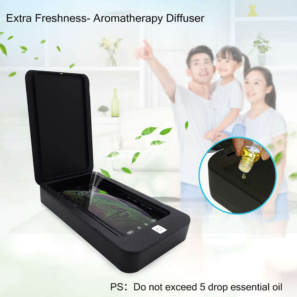 Portable UV Light Cell Phone Sterilizer Smartphone Cleaner Aromatherapy Function Disinfector for iPhone Android Moblie Phone Toothbrush Salon Tools Jewelry Watches White Phone UV Sanitizer