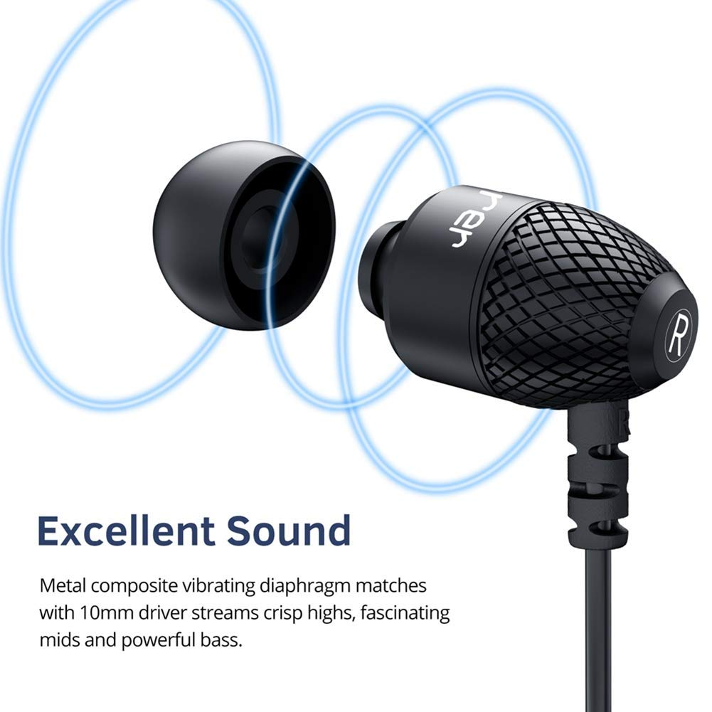 Wired Earphones, Adorer EM10 Powerful Bass in Ear Headphones with Microphone and Volume Control, Noise Isolating Earbuds – Black