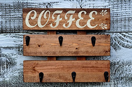 Rustic Pallet Wood Coffee Cup Rack 6 ug Holder Wall Mounted Kitchen Storage Chestnut Stain Cashew Color - Metal Wall Chestnut