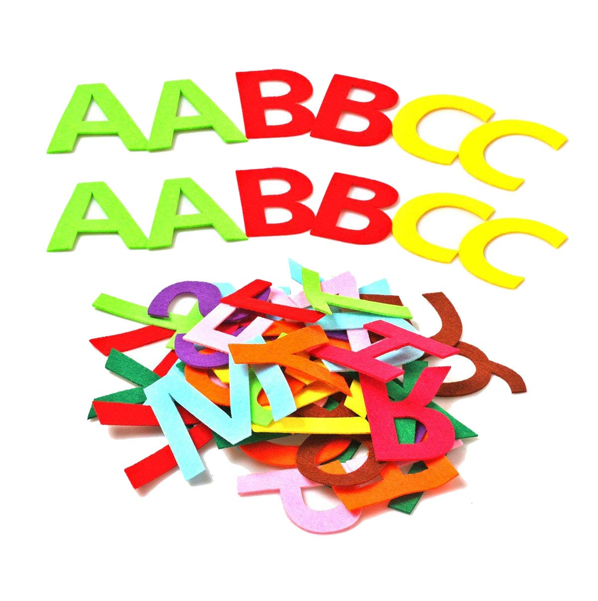 RERIVER 3.2-inch Felt Alphabet Letters 104Pcs A to Z Assorted Colors Fabric ABCs for DIY Craft Kids'Toys Christmas Birthday Party Decoration