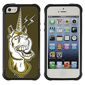 Hybrid Anti-Shock Defend Case for Apple iPhone 5 5S / Gangsta Unicorn