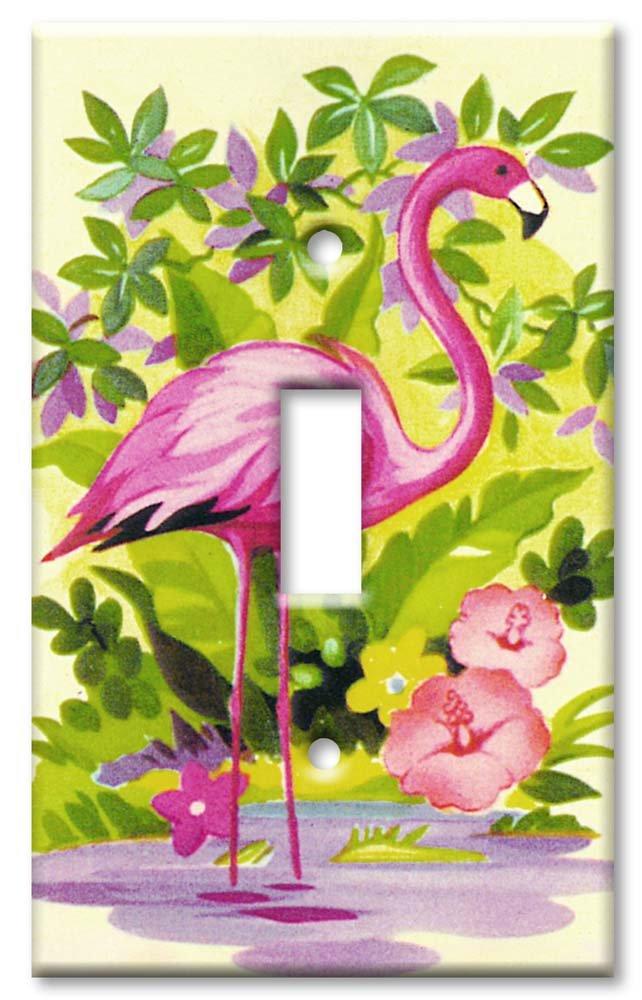 Single Gang Toggle Wall Plate - Pink Flamingo
