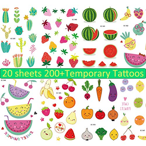 - Medeer 20 Sheets Fruit Temporary Tattoos Vegetables Plant Body Stickers for Kids 200+ Tattoos - Waterproof Summer Tattoos Sticker for Children Birthday Party Favors Holiday Supplies Reward Stickers