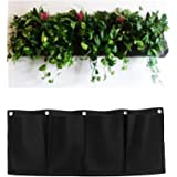 MEIWO 4 Pocket Hanging Horizontal Garden Wall Planter For Yard Garden Home Decoration