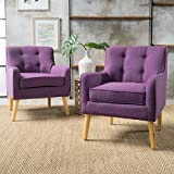Fontinella | Mid Century Modern Fabric Arm Chair with Tufted Back | Set of 2 | in Purple Review