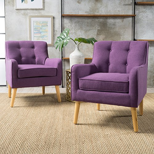 Fontinella | Mid Century Modern Fabric Arm Chair with Tufted Back | Set of 2 | in Purple