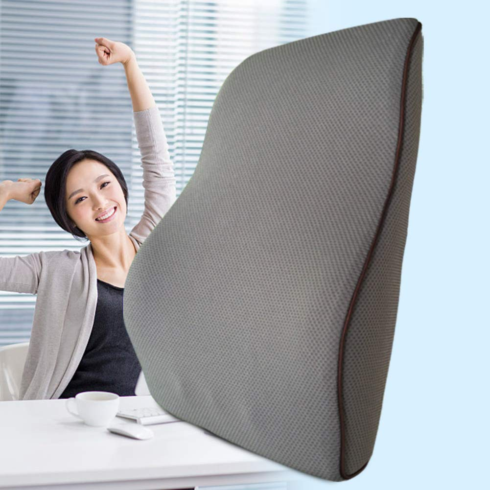 XJ&DD Lumbar Cushion Pillow, Lumbar Support, 100% Memory Foam for Home Computer Games Car Office Travel Student -Gray 43x35x12cm(17x14x5inch) by XJ&DD (Image #6)