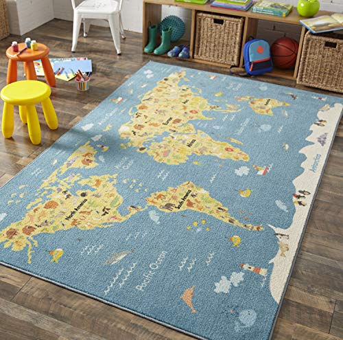 Mohawk Home Z0369 A416 060096 EC Prismatic Animal Map By Country Printed Contemporary Kids Area Rug 5'x8',