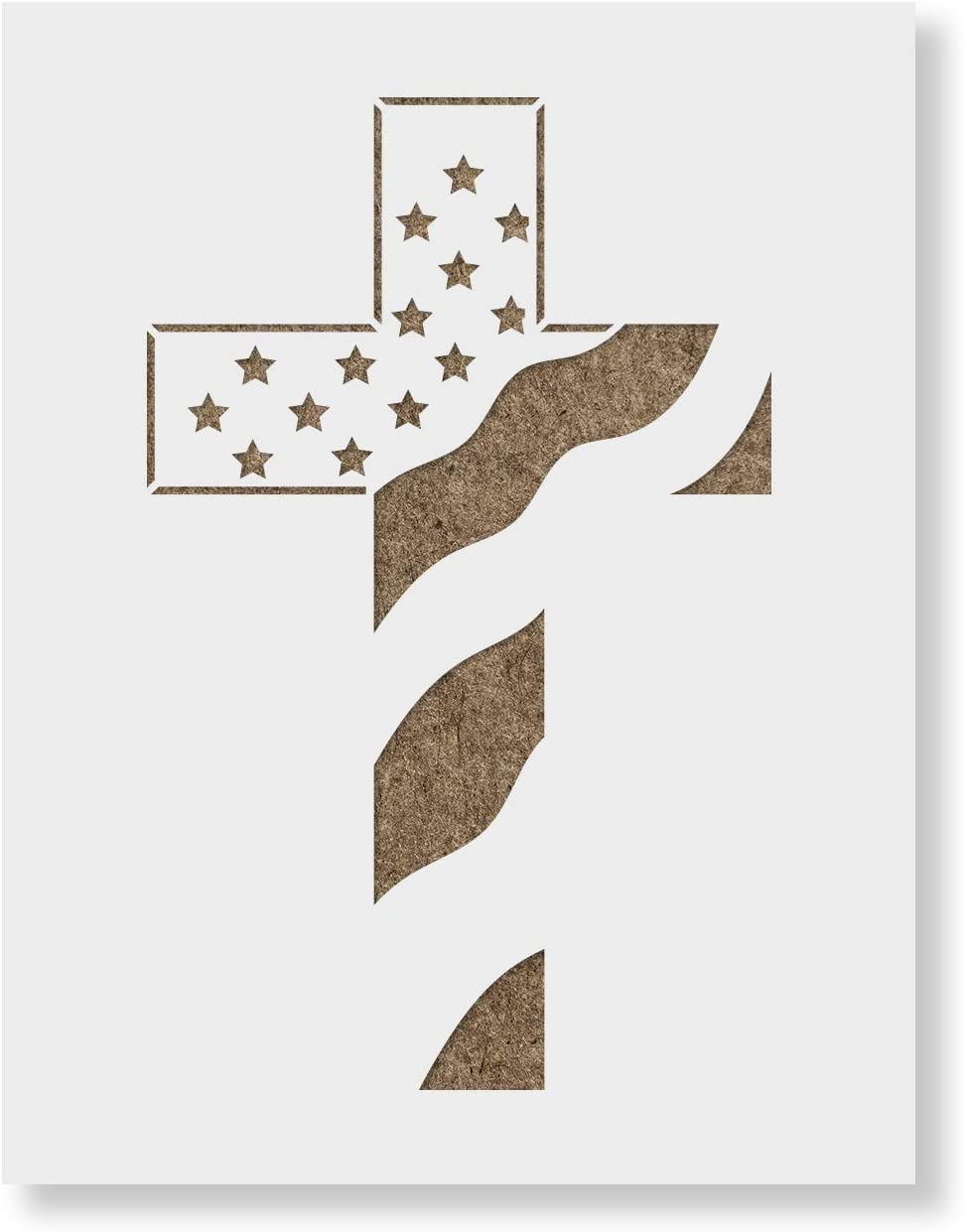 Reusable Stencils for Painting in Small /& Large Sizes American Flag Cross Stencil Template