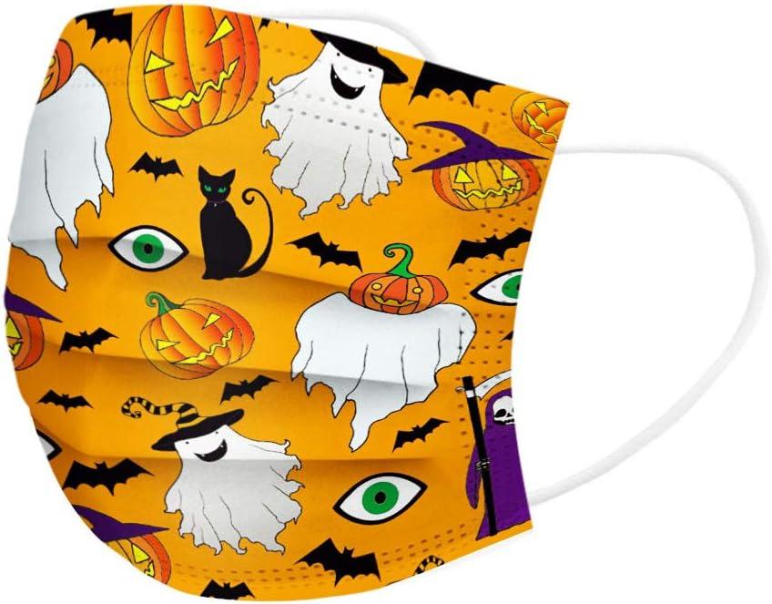 Wancooy 50x Mund Nase Schutz Nettes Halloween-Muster Einweg-Bandanas f/ür Kinder niedlicher bedruckter atmungsaktiver Stoff 3-lagig Mundfilter Einwegfilter Einweg