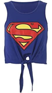 08df0ac431963 Crazy Girls Ladies Womens Batman Superman Print Tie Front Viscose ...
