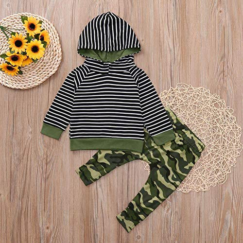 2pcs Clothes Set Toddler Infant Baby Boys Girls Hooded Sweatshirt Striped Tops Pockets Camouflage Pants 0-3T (Camouflage, 3T(2-3 Years)) by Aritone - Baby Clothes (Image #1)