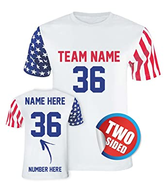 7a4fad41b Amazon.com: Custom American Flag T Shirts & Jerseys - Make Your Own Two  Sided Patriotic Outfits: Clothing