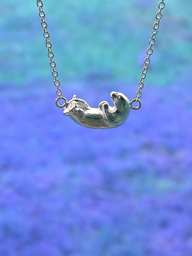 Sterling Silver Sea Otter Charm Necklace