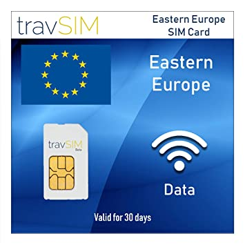 travSIM - Tarjeta SIM de Datos Prepagos para Europa del Este - 1GB de Datos Móviles (3G 4G LTE) para Usar en Bulgaria Croacia Estonia Letonia Rumania ...