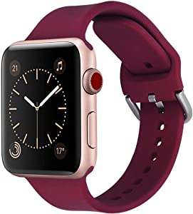 WareWel – Silicone Replacement Bands Compatible with Apple Watch Series 1, 2, 3, 4 & 5 (Burgundy Smooth, 38/40)
