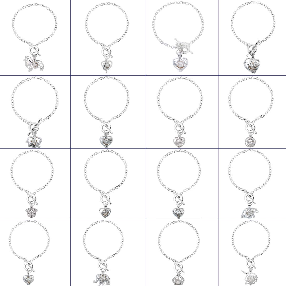 HENGSHENG 16 PCS Bracelet Sets Pearl Oyster Fitting with 1 PC Real Oval Pearl in Pendant