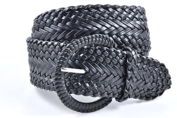 """dd9b4c33d Women's Fashion Web Woven Braid Faux Leather Metallic Wide Belt, S  33"""", ..."""
