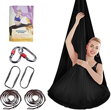EASY BIG Yoga Trapeze Aerial Yoga Hammock - Premium Aerial Silk Yoga Swing for Antigravity Aerial Fitness, Inversion Exercises, Improved Flexibility & ...