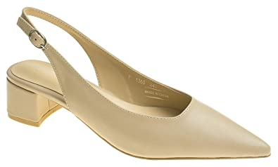 6ccac882fe1 AnnaKastle Womens Chic Pointy Toe Low Block Heel Slingback Pump Beige
