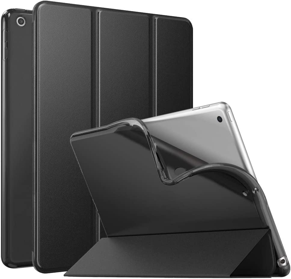 """MoKo Case Fit New iPad 8th Generation 10.2"""" 2020 / iPad 7th Gen 2019, iPad 10.2 Case with Stand, Soft TPU Translucent Frosted Back Cover Slim Shell for iPad 10.2 inch, Auto Wake/Sleep,Black"""