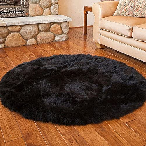 Pinkday Faux Sheepskin Area Rug Home Rugs Jungle Sheep Skin Rug Fluffy Rug Heavy and Thick Wool Round Rug 3 Feet Diameter Black