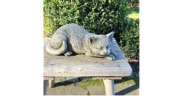 Antikas - gato de piedra figuras jardín - estatua gato adorno terraza jardín finca rústica - animales de piedra: Amazon.es: Jardín
