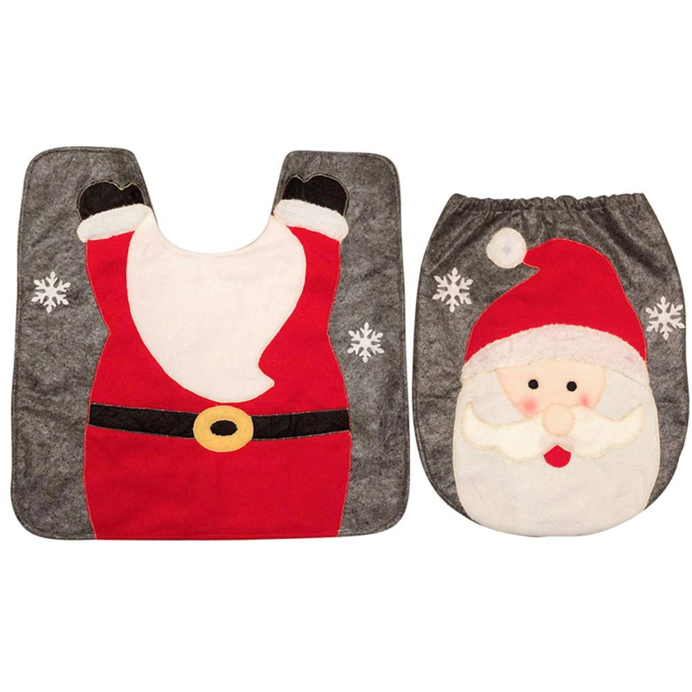 2 Pieces Bathroom Rug Mat Set Christmas Decoration Clearance - Iuhan Christmas Snowman Toilet Seat Cover Bath Mat Lid Cover- Bathroom Rug + Lid Toilet Cover (B) Iuhan ®