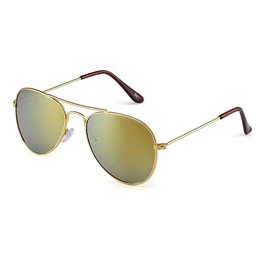 69fe25b50cb Kids Mirror Aviator Sunglasses Flash Tinted Children Glasses Girls Boys Age  3-12 (Gold