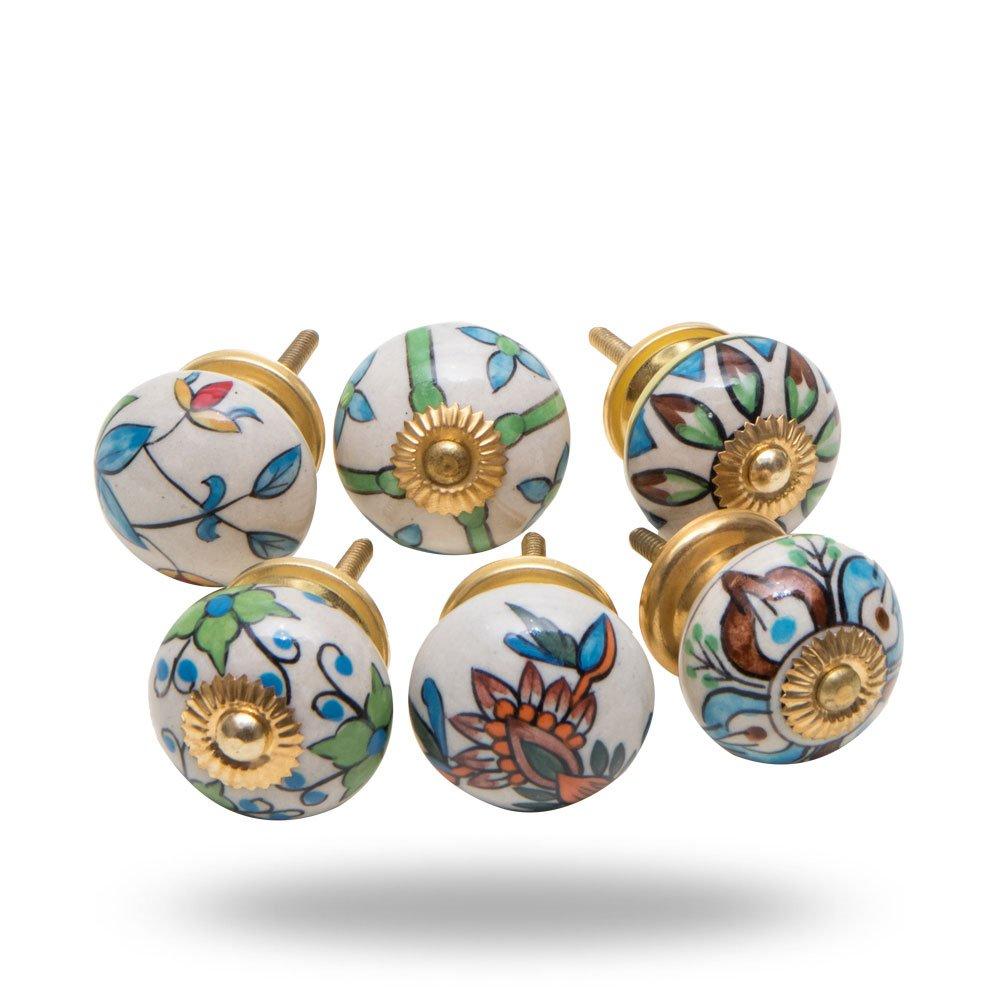 Satz von 6 Keramik-Schrankt/ürgriffe Trancosso Durchmesser 40 mm Schubladen-Pull-Kommode Schrankgriff