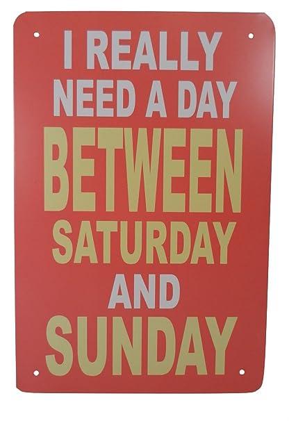 Amazon Weekend Funny Tin Sign Bar Pub Garage Diner Cafe Home
