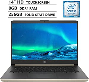 "2019 Newest HP 14"" HD SVA BrightView Micro-Edge WLED-Backlit Touchscreen Laptop, Intel Core i3-8145U Processor up to 3.90GHz, 8GB RAM, 256GB M.2 SSD, HDMI, Wi-Fi, Bluetooth 4.2, Windows 10, Pale Gold"